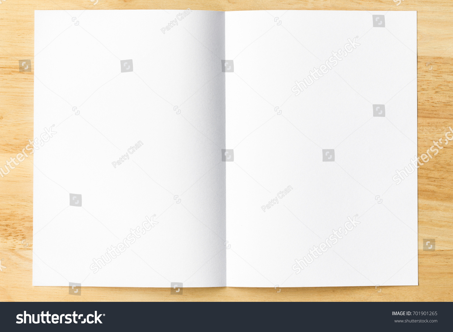Blank Book Paper Pages On Wood Table. Template For Content Background.  White Folded Paper