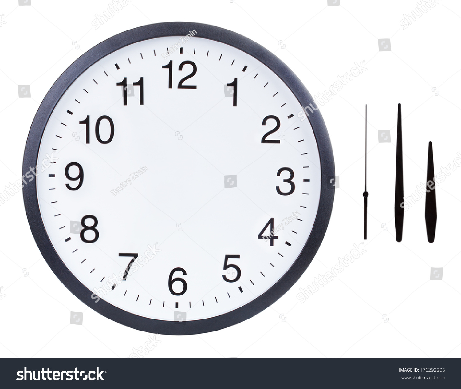 Blank Clock Face Hour Minute Second Stock Photo