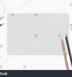 blank paper with pencil and leather notebook on wooden table business template mock up for adding your text ez canvas [ 1500 x 1098 Pixel ]