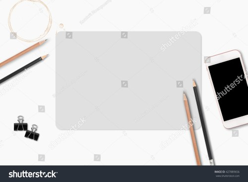 small resolution of blank paper with pencil and leather notebook on wooden table business template mock up for adding your text ez canvas