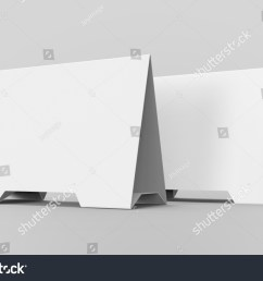 blank table tent 3d render table card set mockup for design uses triangular paper [ 1500 x 1074 Pixel ]