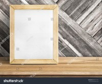 Blank Whiteboard Wood Frame On Wooden Table At Diagonal ...