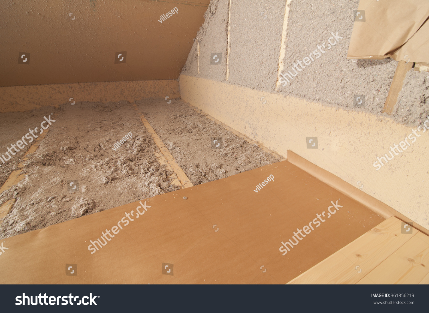 Blow-In Cellulose Fiber Wool Insulation Stock Photo 361856219 : Shutterstock