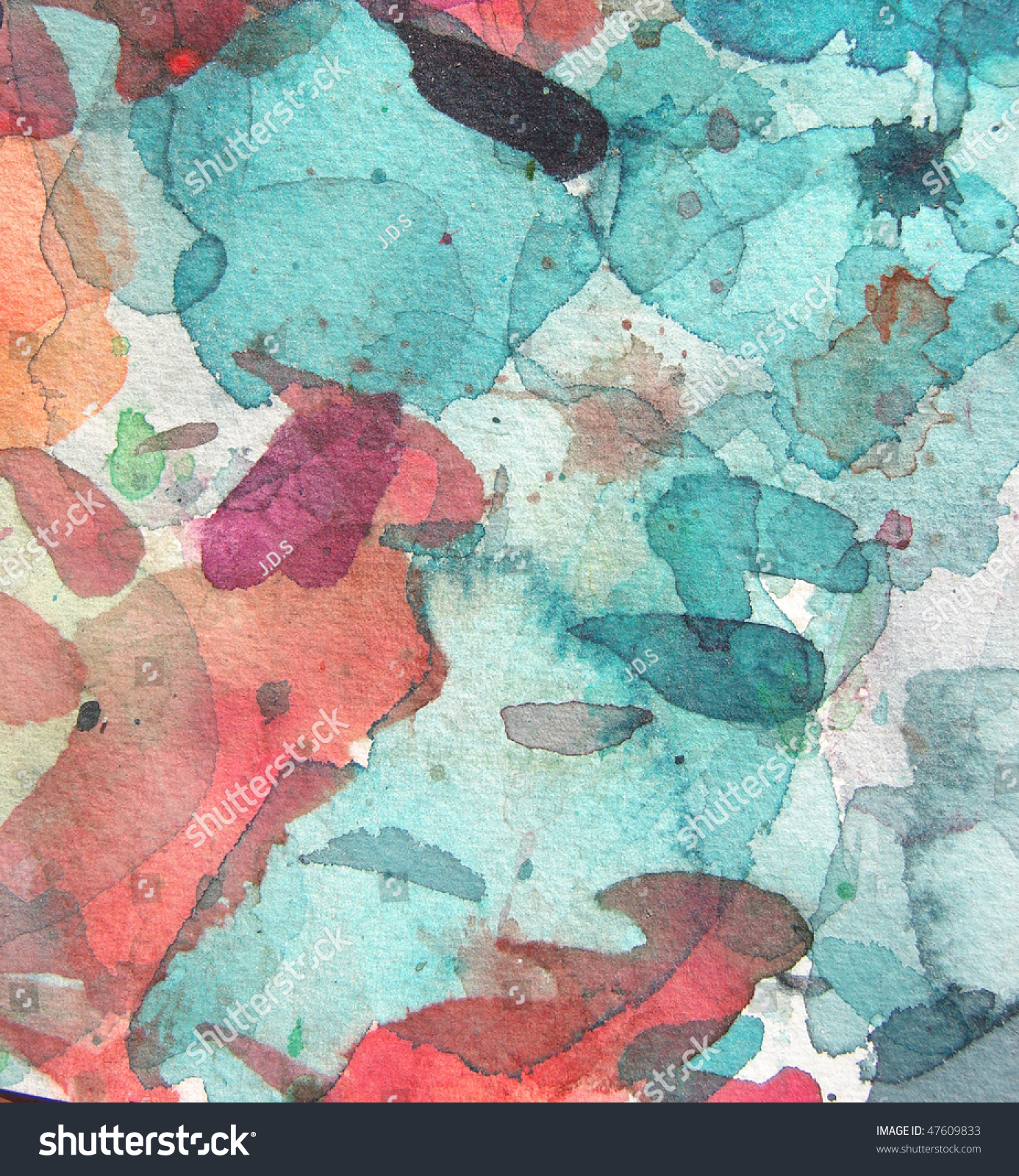 Blue Red Abstract Watercolor Background Brush Stock Photo