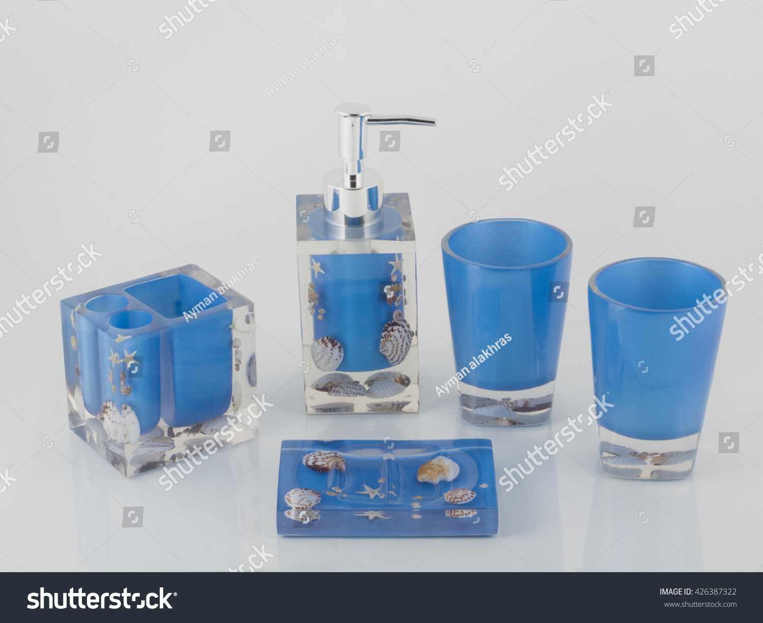 Blue Bathroom Accessories Blue Bathroom Accessories Reflection On Gray Stock Photo Edit Now