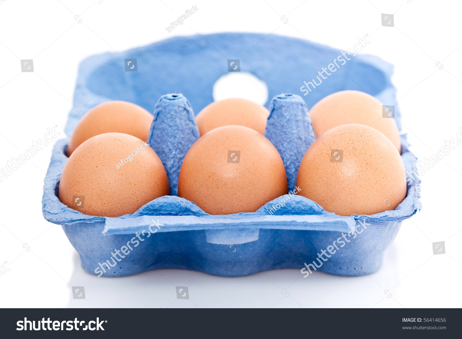Blue Box Or Carton Of Half A Dozen Fresh Eggs Isolated On White Background Stock Photo 56414656 : Shutterstock