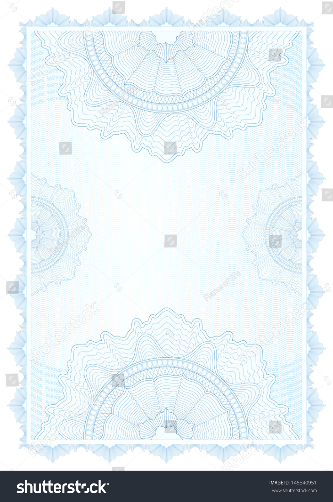 Blue Certificate Of Completion (Template Or Sample Background) With  Guilloche Pattern (Watermark)