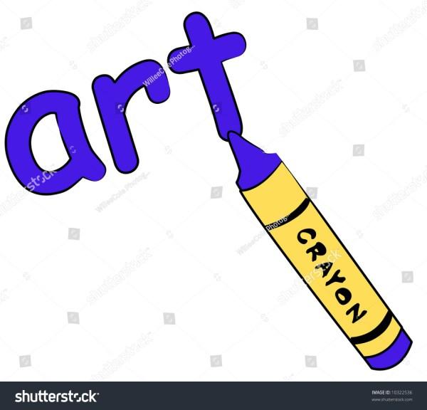 Blue Crayon Writing Word Art - Education Concept Stock