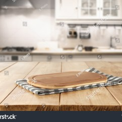 Kitchen Desk Modern Cabinets Online Blurred Background Retro Stock Photo Edit Now Of With Napkin And Space For You