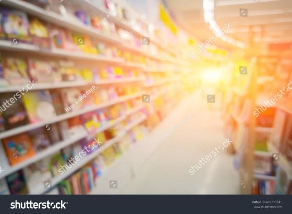 Blurred Background Book Store Shelf Stock