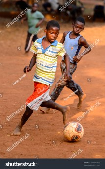 African Kids Playing Soccer