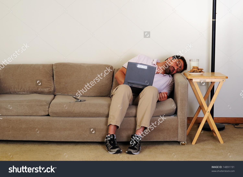 sofa mart idaho falls cheap office sofas uk boring computer nerd asleep on stock photo 14891191