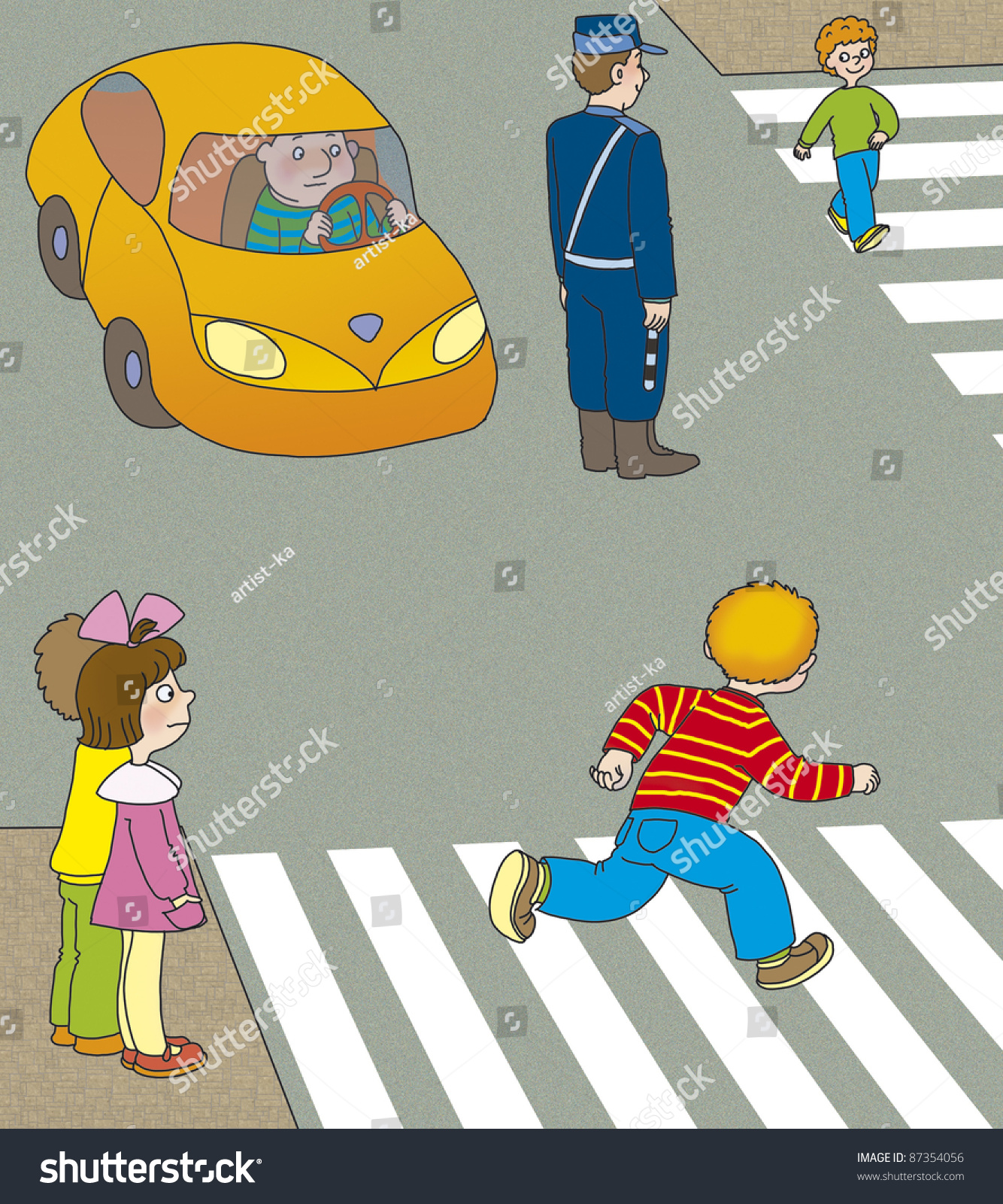 hight resolution of boy runs across the road at a pedestrian crossing in front of the machine