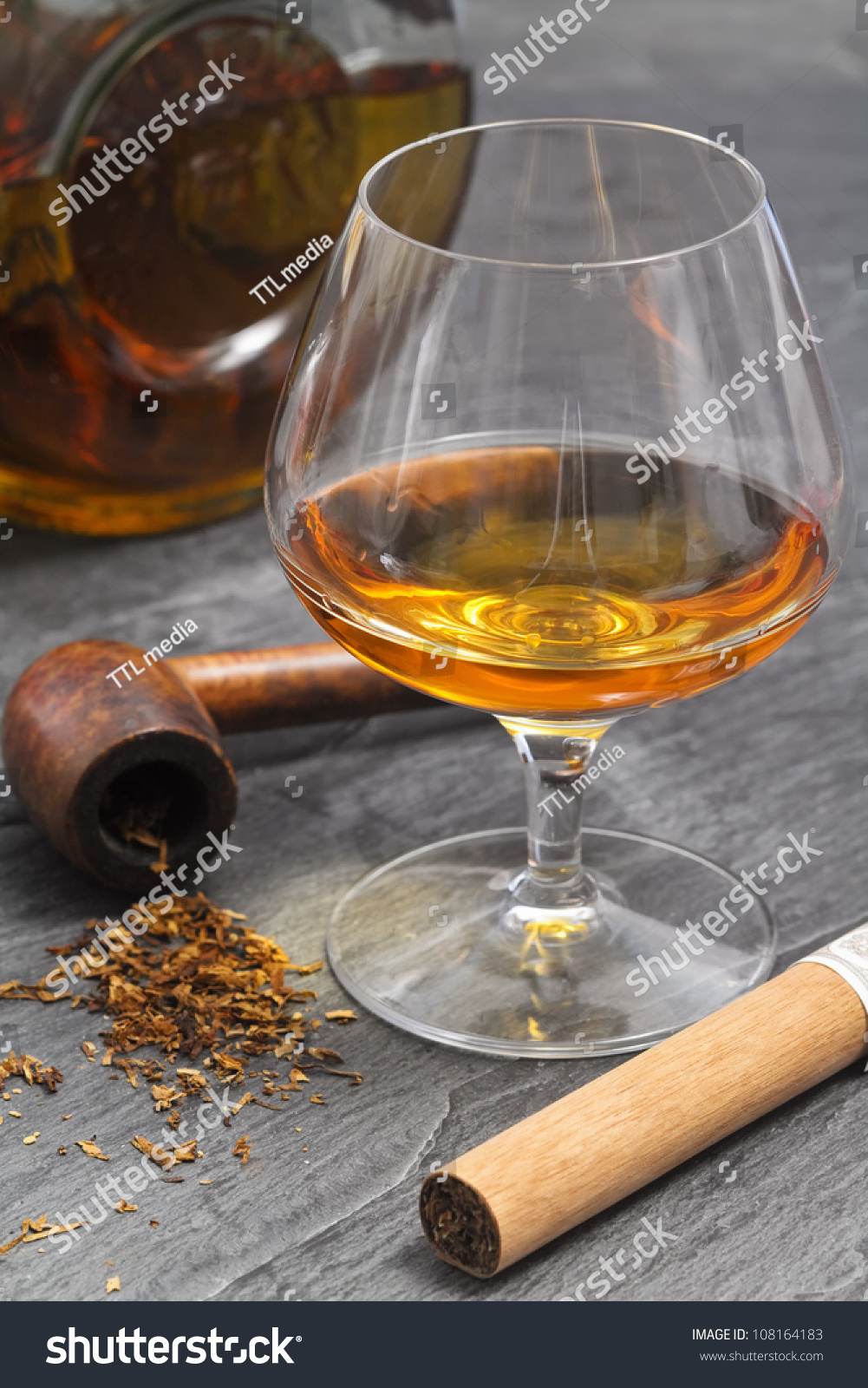 Brandy Glass With Smoke Pipe And Cigar Stock Photo 108164183 : Shutterstock