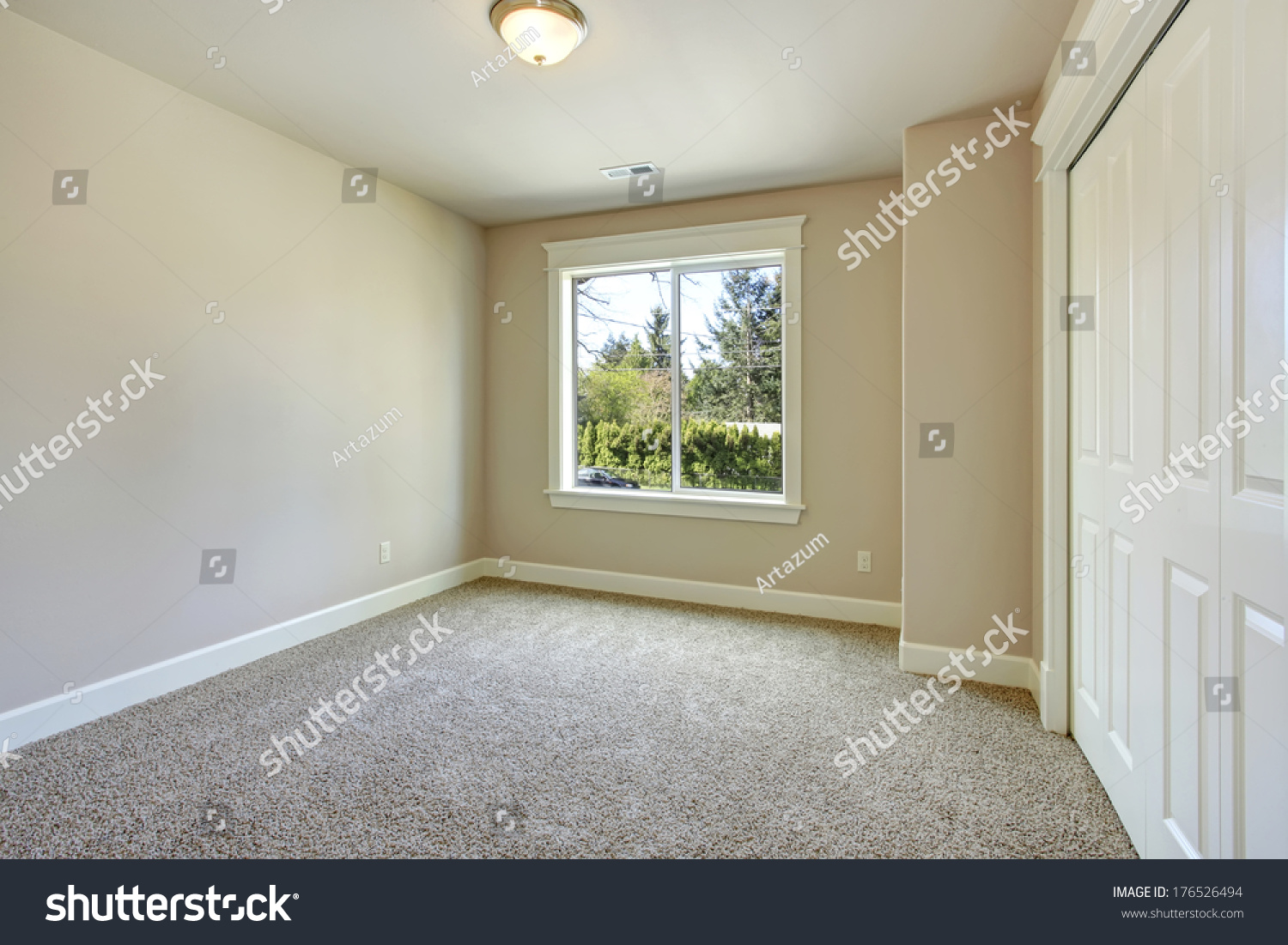 Bright Empty Room With One Window, Beige Carpet Floor