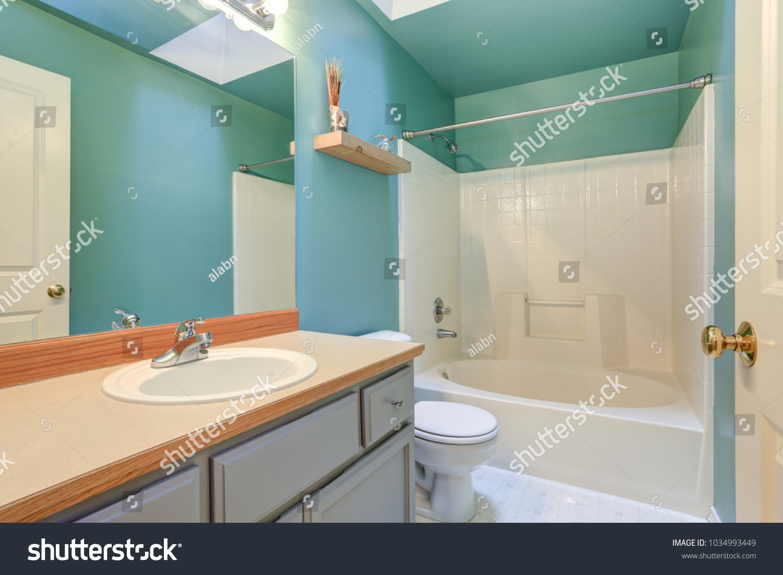 Bright Green Blue Bathroom Interior Light Stock Photo Edit Now 1034993449