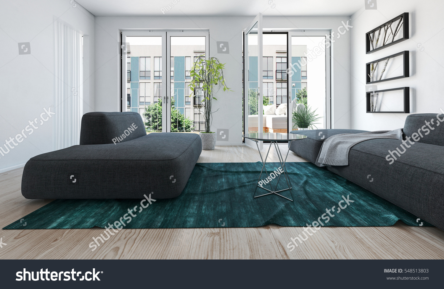 living room with light green carpet rooms to go sofa bright apartment interior stock illustration large sofas on a blue rug and windows