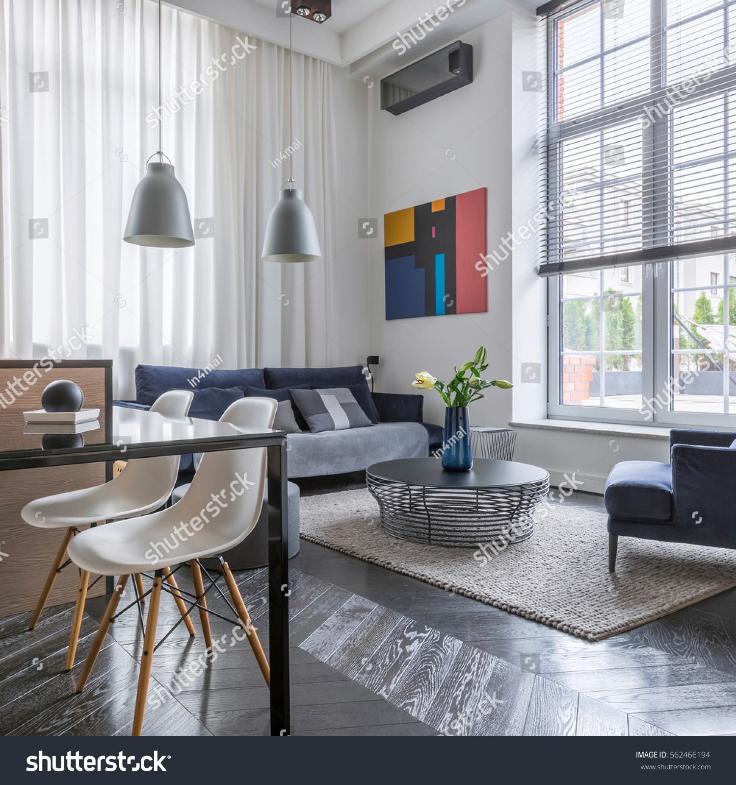 living room big window blue walls ideas bright sofa armchair stock photo edit now with and blinds