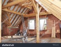 Building Attic Interior Roofing Construction Indoor Stock ...