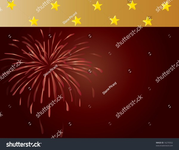 Burgundy And Gold Background With Stars Fireworks