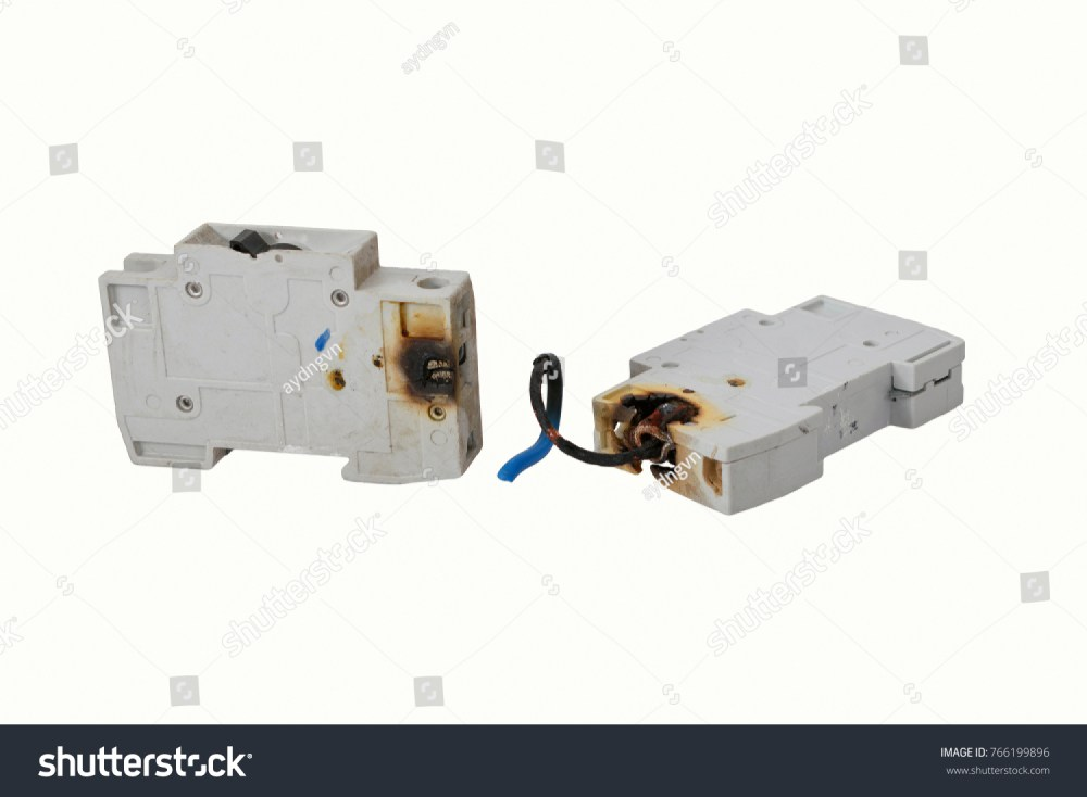 medium resolution of burned electrical circuit breaker fuse box on white background the burned cable