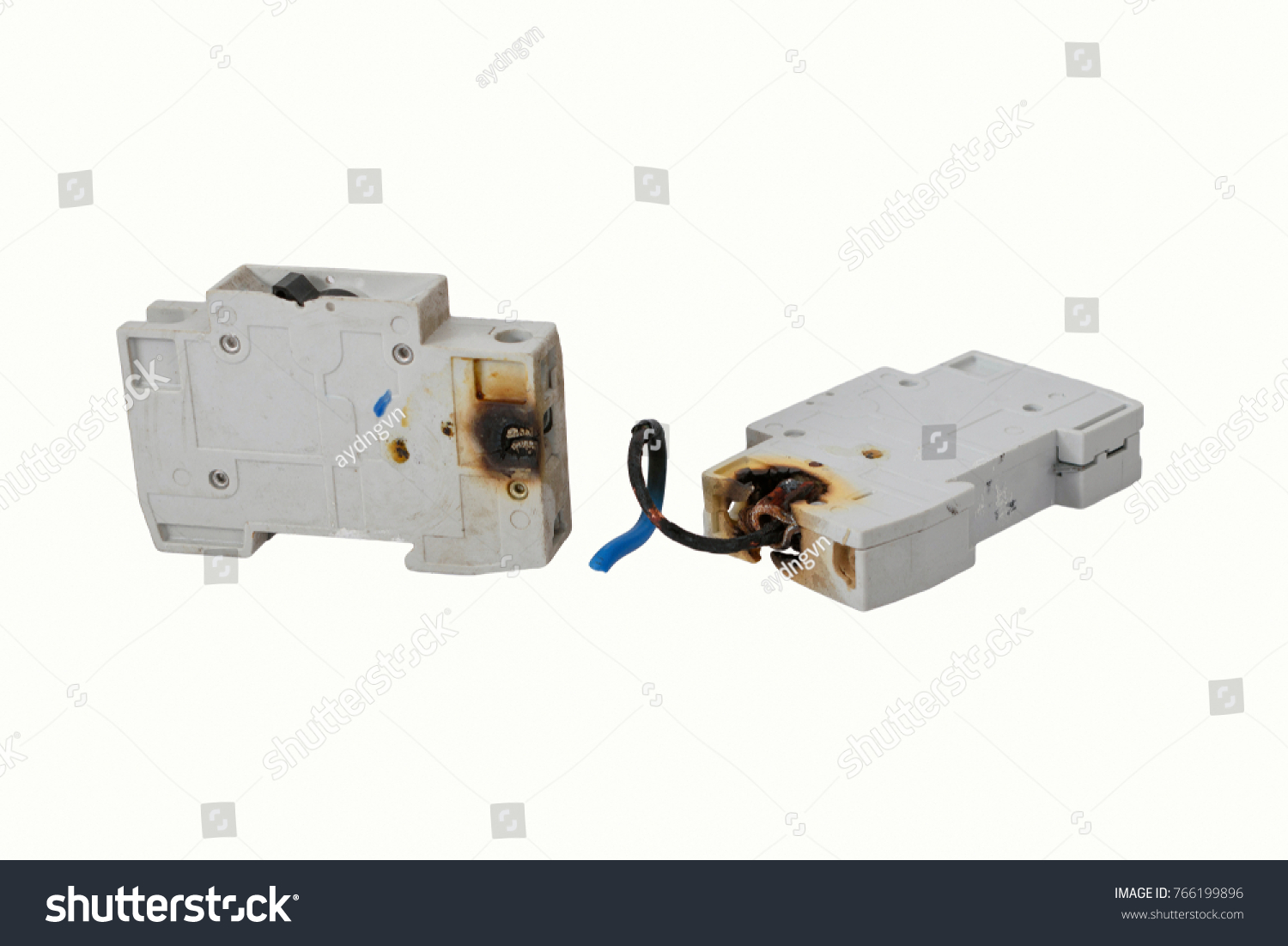 hight resolution of burned electrical circuit breaker fuse box on white background the burned cable