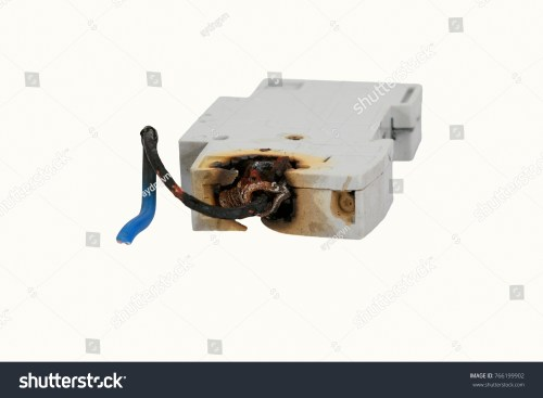 small resolution of burned electrical circuit breaker fuse box on white background the burned cable
