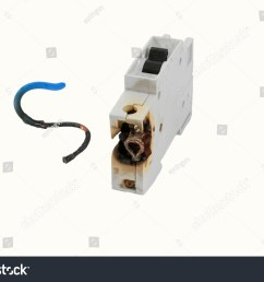 burned electrical circuit breaker fuse box on white background the burned cable [ 1500 x 1101 Pixel ]