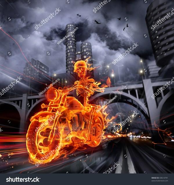 Burning Skeleton Riding Motorcycle Stock 69614791