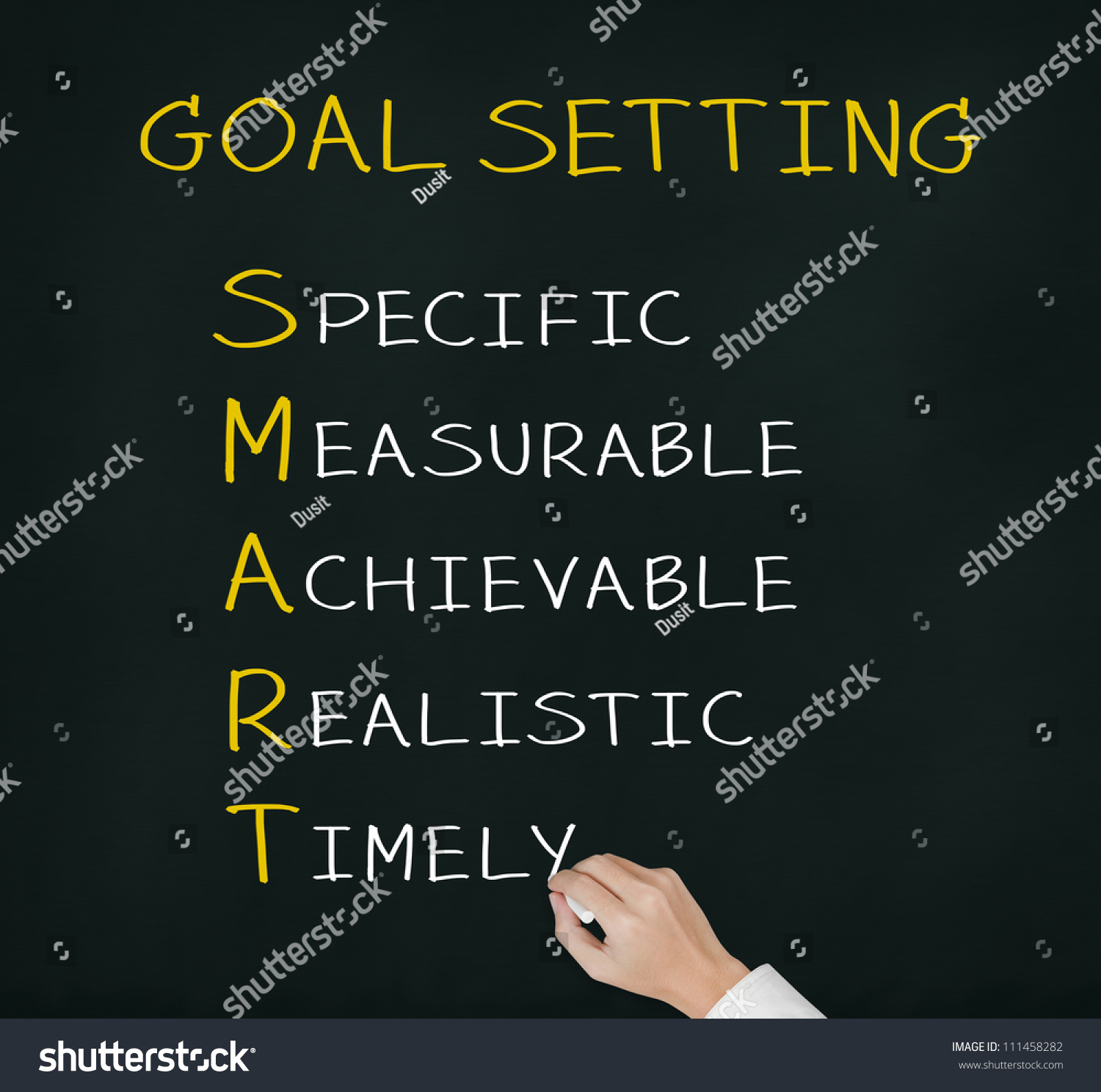 Business Hand Writing Smart Goal Or Objective Setting - Specific - Measurable - Achievable Realistic - Timely Stock Photo 111458282 : Shutterstock