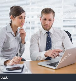 business people working together on laptop stock photo [ 1500 x 1101 Pixel ]