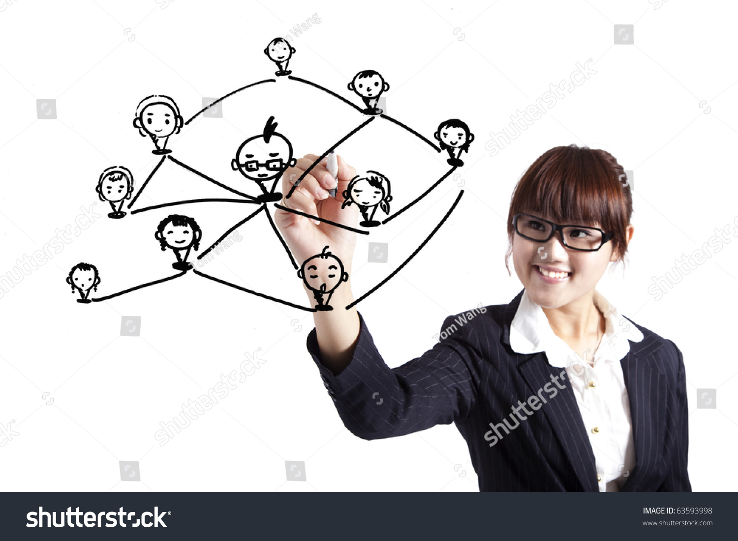 Business Woman Drawing Social Network Relationship Diagram Stock