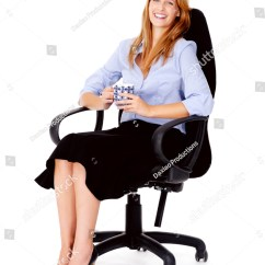 Woman Sitting In Chair Office Target Business Relaxing Stock Photo