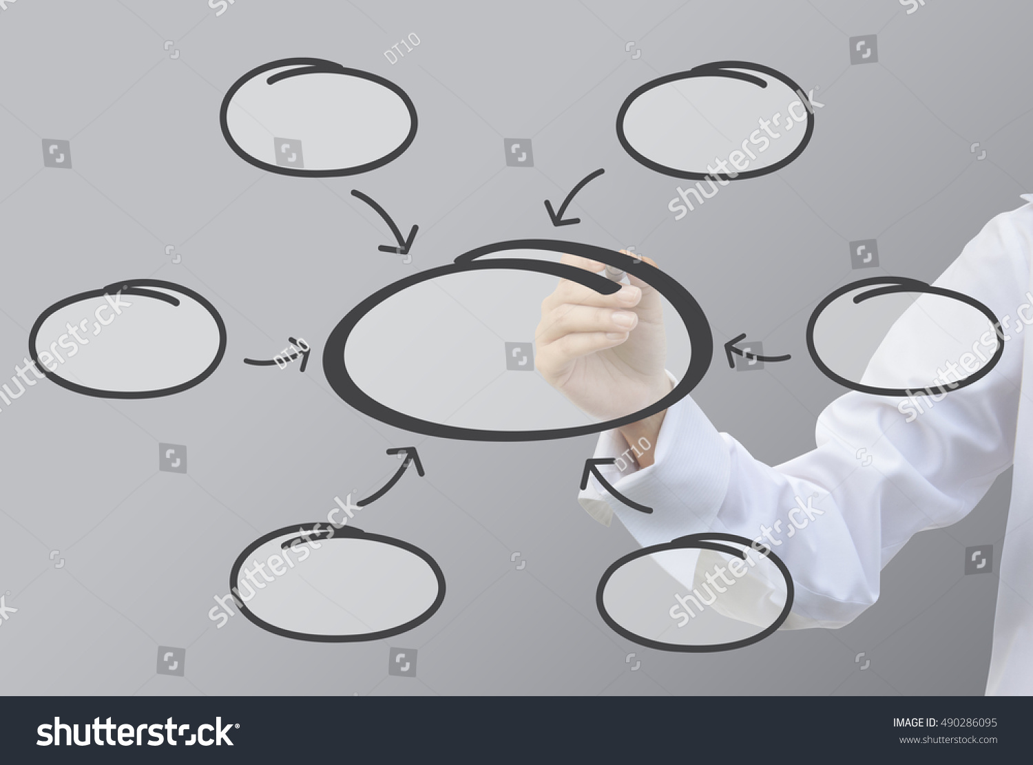 hight resolution of business writing relation of bubble diagram concept set6