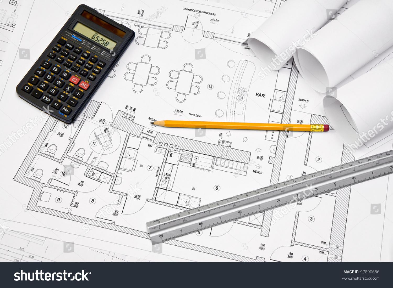 Calculator Scale Ruler Pencil On Architectural Stock Photo