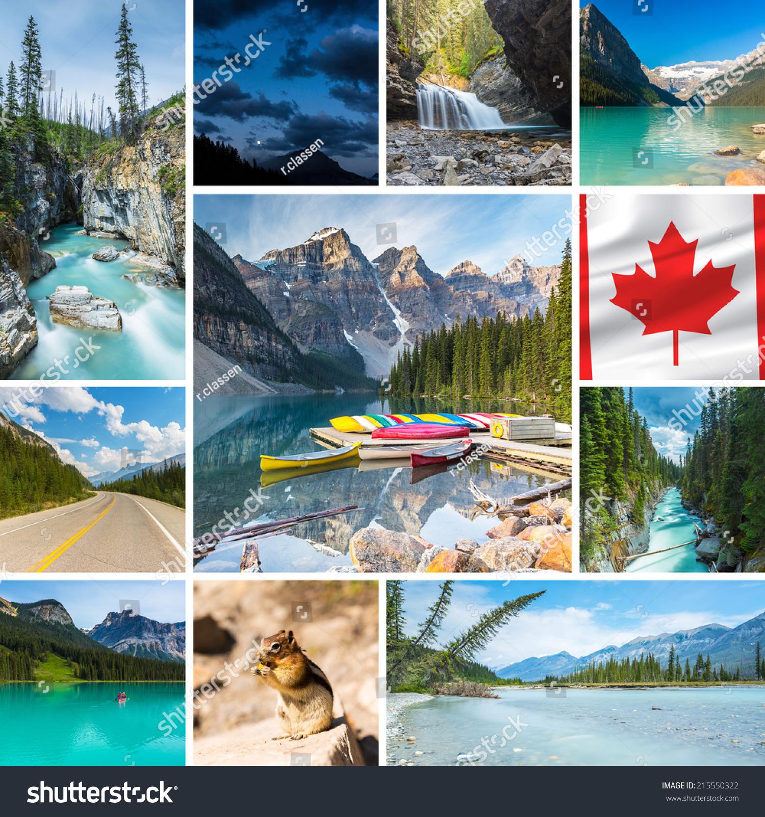Numa Falls Wallpaper Canada Collage Lake Louise Waterfall Canoe Stock Photo