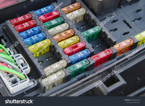 small resolution of car fuse box closeup multiple rows of different fuses one connector and part of