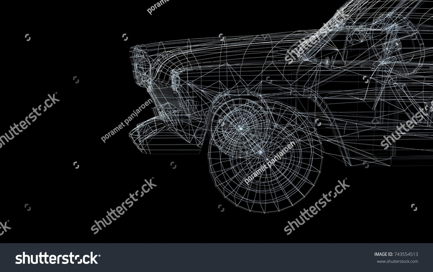 hight resolution of car model body structure wire model 3d rendering