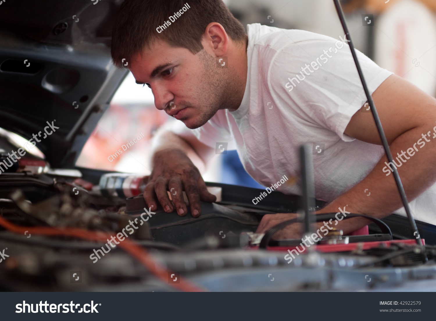 Car Repair Mechanic Fixing Auto Man Working On Car In Garage At Home Do It Yourself Examine