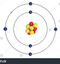carbon atom bohr model with proton neutron and electron 3d illustration [ 1500 x 1101 Pixel ]