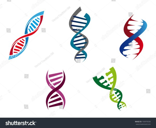 Cartoon Illustration Colourful Dna Strands Stock
