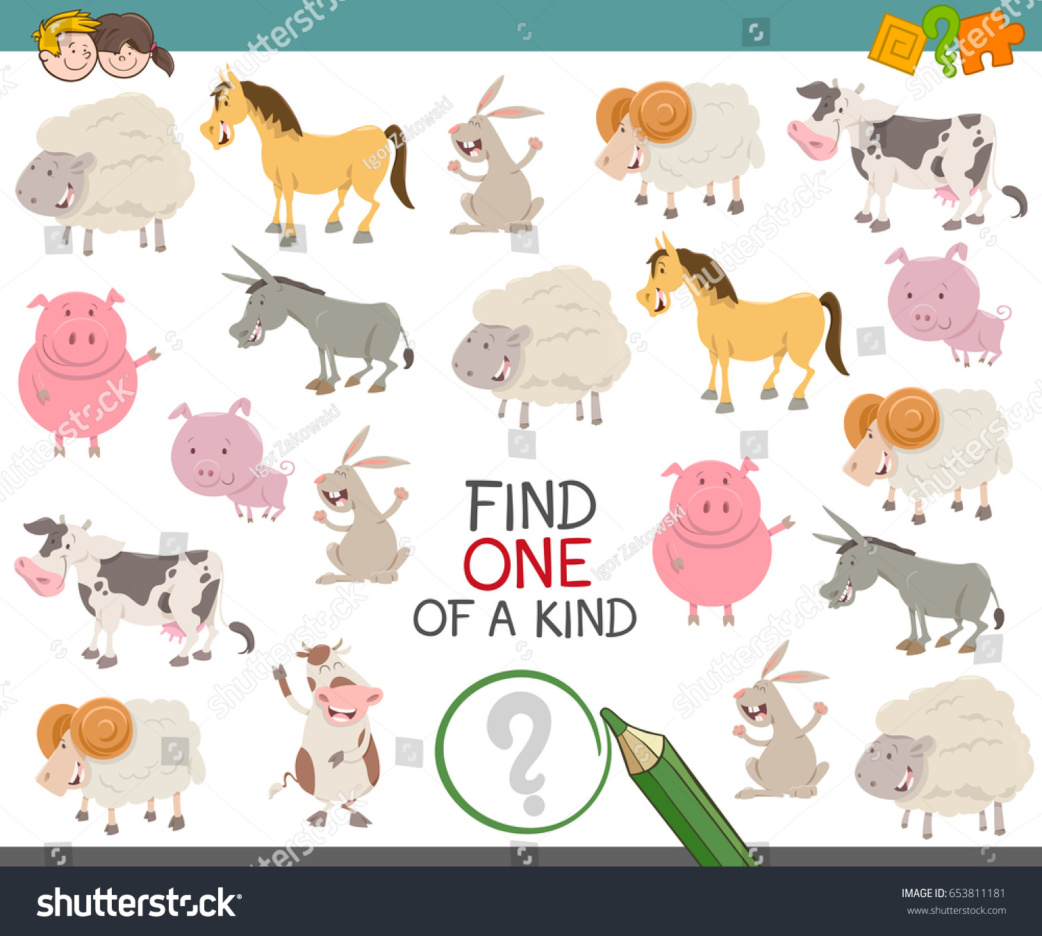 Cartoon Illustration Find One Kind Educational Stock