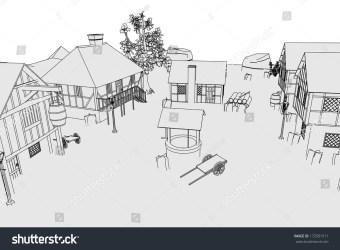 Cartoon Image Medieval Village Stock Illustration 172591511