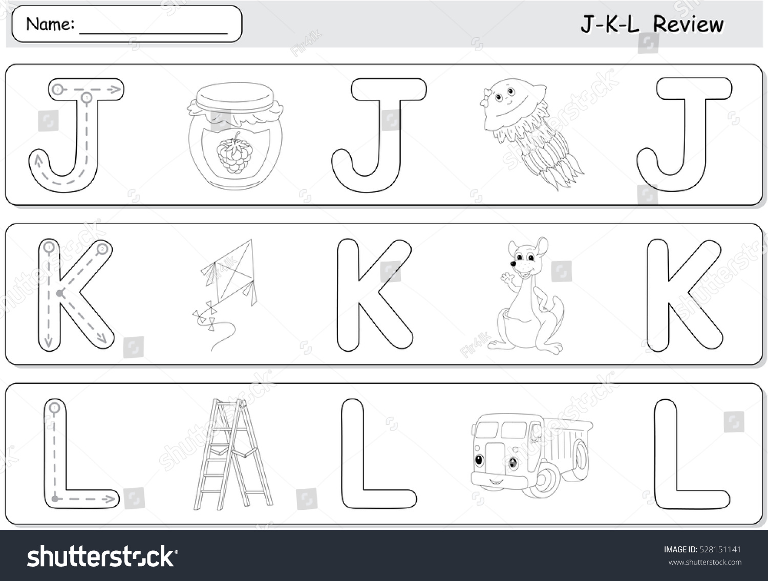 Cartoon Jellyfish Jam Kite Kangaroo Lorry And Ladder Alphabet Tracing Worksheet J K L
