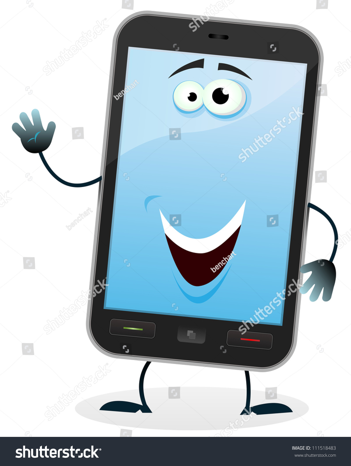 Cartoon Mobile Phone Character Illustration Of A Cartoon