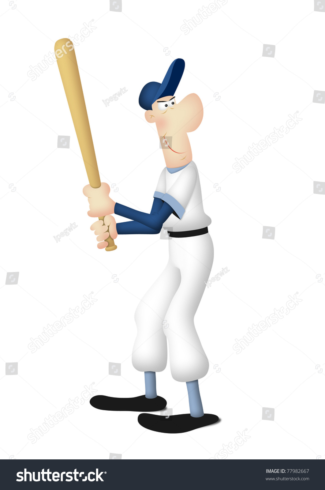 hight resolution of cartoon of baseball batter in batting pose
