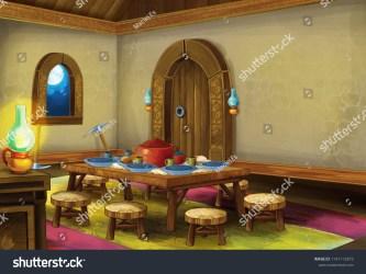 Cartoon Scene Medieval Kitchen Room Interior Stock Illustration 1141112873