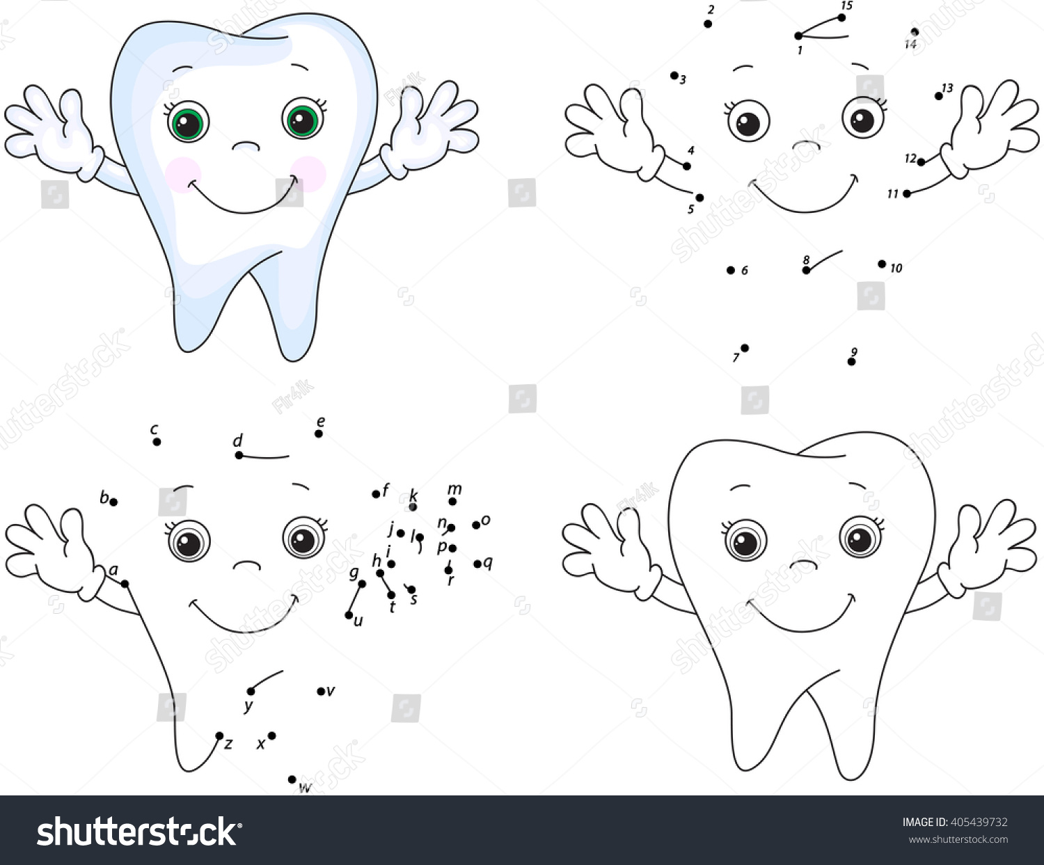 Cartoon Tooth Smiles Coloring Book Dot Stock Illustration