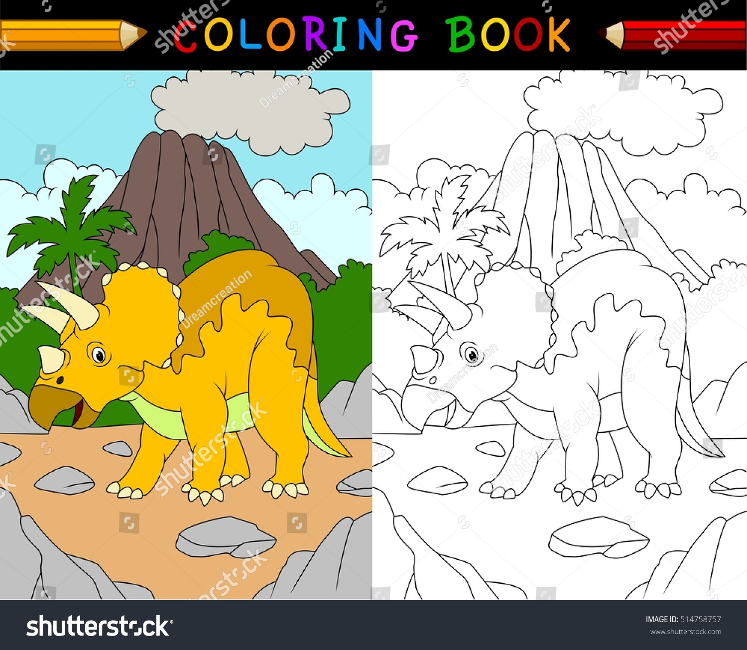 Cartoon Triceratops Coloring Book Stock Illustration