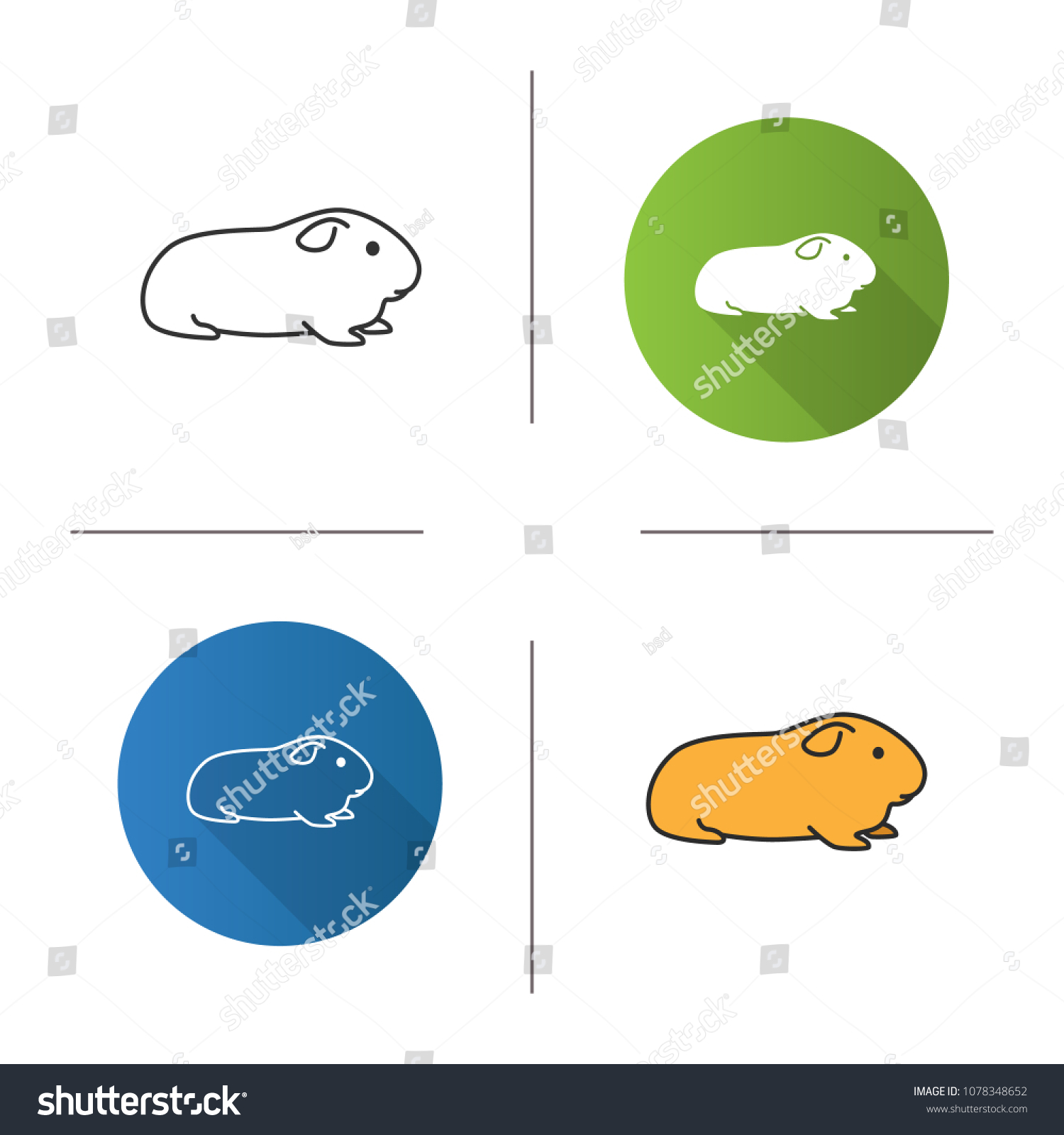 hight resolution of cavy icon flat design linear and color styles domestic guinea pig isolated